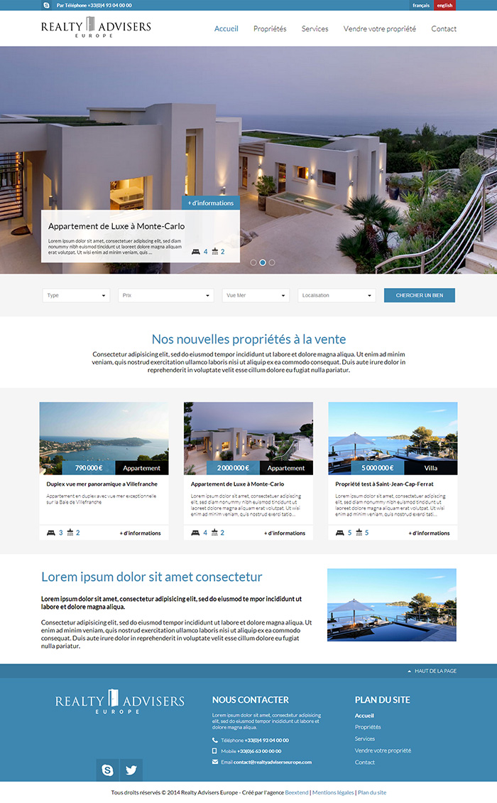 Realty Advisers Europe Page d'Accueil
