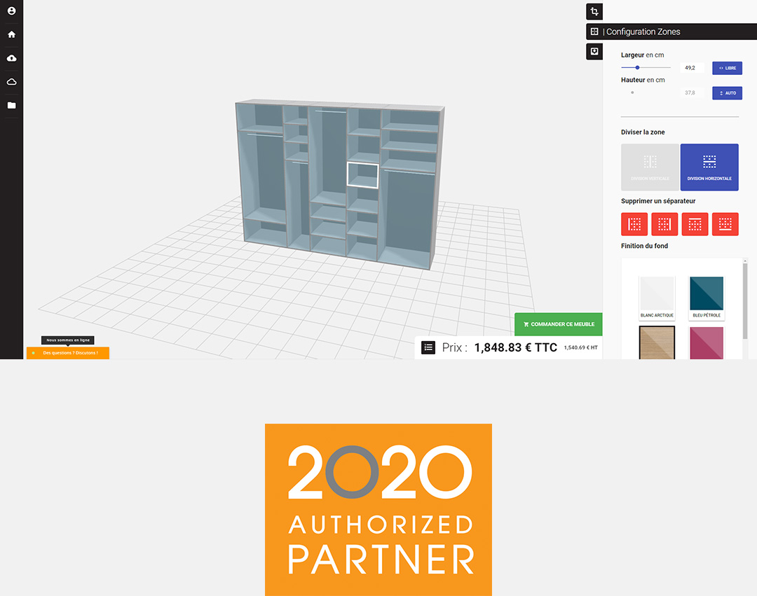 EZ Closet 3D design environment